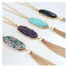 big stone necklace - Women's Fashion Big 2'' Oval Abalone Druzy Stone Tassel Pendent Necklace Long