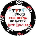 PERSONALISED PIRATES GLOSS PARTY BAG BOX STICKERS SWEET CONES 4 SIZES