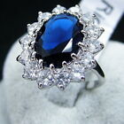Women Girl Silver Plated Blue Crystal Wedding Engagement Ring Jewelry In Bulk