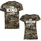 THE KING / HIS QUEEN Partner T-Shirts Damen Herren Pärchen Camouflage Tarnmuster