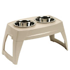 Feeding Tray Large Suncast Elevated with Two 8 Inch Stainless Steel bowls