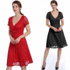 New Women Lady Summer Lace Short Sleeve Party Evening Cocktail Short Dress 6277P