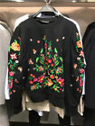 Spain Women's Oversized Crew Neck Embroidered Flower Cotton Sweater Jumper S-L