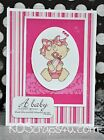 KOScraps4u CHOICE Baby Girl Newborn Shower Cute Premade SEWN Cards Paper Piecing