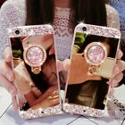Bling Diamond Crystal Ring Holder Kickstand Mirror Case Cover For iPhone/Samsung
