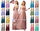 Long Chiffon Lace Evening Formal Party Ball Gown Prom Bridesmaid Dress Size 8-24