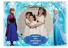 PRINCESS ANNA & ELSA OWN PERSONALISED PHOTO A4 EDIBLE BIRTHDAY CAKE TOPPER