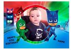 "PJ MASK OWN PERSONALISED PHOTO A4 EDIBLE BIRTHDAY PARTY CAKE TOPPER 11""X8"""