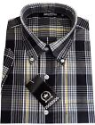 Relco Men's Black Yellow Tartan Check Short Sleeve Button Down Skins Mod Shirt