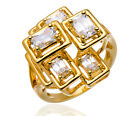 Geometry Ring Cubic Zirconia 18K Yellow Gold Plated Sterling Silver Women Party