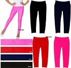 Внешний вид - Girl Kids Full-Length Seamless Nylon Blend Plain Solid Color Leggings S/M  L/XL
