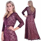 Women's Amazing Elegant Long Evening Dress With Sleeves Burgundy Lace Ball Gown