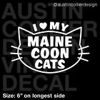 I LOVE MY MAINE COON CATS Vinyl Decal Car Truck Window Laptop Sticker - Cat Lady