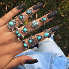 New Bohemian Vintage Women Silver Elephant Turquoise Finger Rings Punk Ring Gift