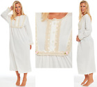 Ladies 100% Jersey Cotton Nightie Full Length White Embriodered Lace Long Sleeve
