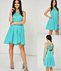 Mint Green Summer Dress Crochet Detail and Cut Out Back Ex-Branded Size 10-14