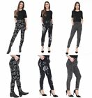 Womens Ladies 2Pocket Printed Mid Waisted Stretch Jegging Trousers Pants Legging