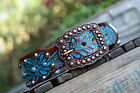 Western Bling Studded & Copper Turquoise Leather Dog Collar Tooled Dog Collar