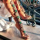 2017 Gladiator Womens Shoes Sandals Boot Open Toe Transparency Heel Hollow Out