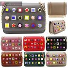 LADIES NEW LARGE STUD DECORATION FAUX LEATHER GOLD CHAIN CLUTCH CROSSBODY BAG