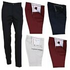 Men's Retro Flat Fronted Sta Press Trousers Mod Skin 60s 70s Slim Fit Pants