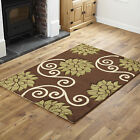 LOW COST QUALITY LARGE SMALL MODERN RUG FLOWERY DESIGN BROWN GREEN RUG & RUNNER