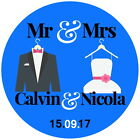 PERSONALISED GLOSSY  WEDDING,FAVOUR ,THANK YOU SAVE THE DATE MR& MRS STICKERS