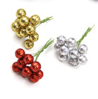 100x Flowers Glitter Christmas Flowers Berries Stamens Diy Christams Party Decor