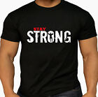 Men's Pro Stay Strong Training Workout Kettlebell Workout Gym MMA Black T Shirt