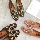 Womens Rivets Embroidery Suede Flat Loafers Slip On Moccasins Shoes Leisure hot
