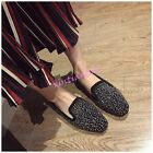 Womens Rivets Rhinestone Flat Loafers Slip On Moccasins Shoes Studded Korean New