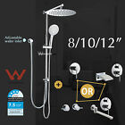 "Round 12"" 10"" 8"" Rainfall Shower Head Hand Held Spray Mixer Twin Taps Spout Set"