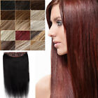 Dame Full Head 5clips 100% Remy Cheveux humains Clip Extensions One Piece 120g