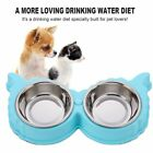 Pet Dog Cat Food Water Double Stainless Steel Bowl Non Slip Feed Dishing FeedeDU