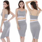 Sexy Women Club Party Bodycon Cocktail Two-piece Pencil Dress Set Crop Top New '