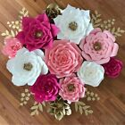 2Pcs Paper Flower Backdrop Wall 20cm Giant Rose Flowers DIY Wedding Party Decor