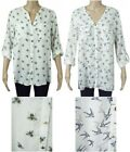 New Ex F&F Ladies Ivory Bee or Bird Print Long Sleeved Blouse Size 10 - 22