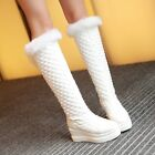 Women's Pointed Toe Genuine Fur Leather Knee High Snow Boots Shoes Size