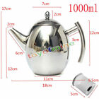 1000/1500ML Stainless Steel Teapot Coffee With Tea Leaf Filter Infuser Silver