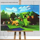 Minecraft Canvas Print Poster Picture Zombie Steve Creeper Cat  Ocelot Chase A1