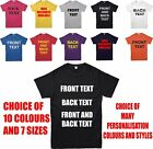 Personalised Custom Printed T-Shirt, Your Design, Custom Text, Gift Top