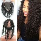 360Lace Frontal Closure 100%Brazilian Remy Human Hair Deep Curly Pre Plucked