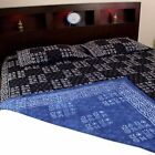 Hand Block Print Dabu Geometric Reversible Cotton Duvet Cover Queen Pillow Sham image