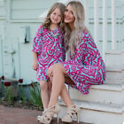 Mother and Daughter Casual Boho Mini Dress Mommy&Me Matching Set Outfits