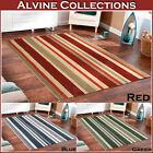 NEW LARGE MEDIUM FLAT HAND WOVEN WOOL RED BLUE GREEN STRIPE DESIGN KILIM RUG