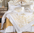 100%Egyptian Cotton 600S Soft White Gold Embroidered Duvet Cover Bedding Set UPS image