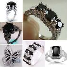 Women/Men's 925 Sterling Silver Black Sapphire Ring Engagement Jewelry Size 5-10