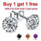 925 Sterling Silver White, Black,or Silver Round Cut CZ Stud Earrings a pair image