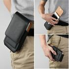 For CellPhone Leather Vertical Cover Wallet Pouch Swivel Hard Belt Holster Black