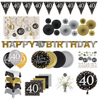 40th Birthday Party Decorations Black Gold Tableware Plates Cups Napkin Cutlery